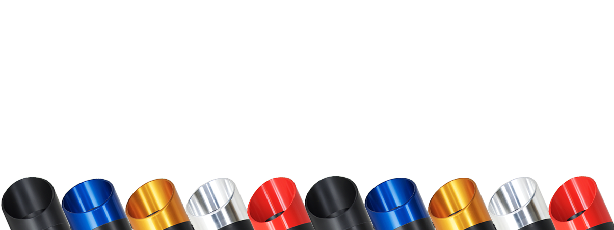 9 various colored exhaust tips